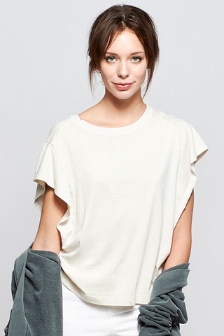 stateside brushed heavy jersey flutter tee in cream