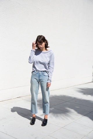 stateside french terry sweatshirt in silver