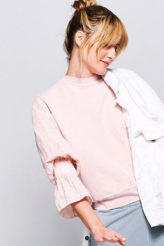 stateside french terry linen sweatshirt in peach