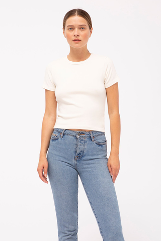 stateside rib crop top in cream