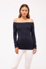 stateside rib off the shoulder top in navy
