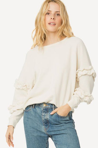 the great frill sleeve sweatshirt in washed white