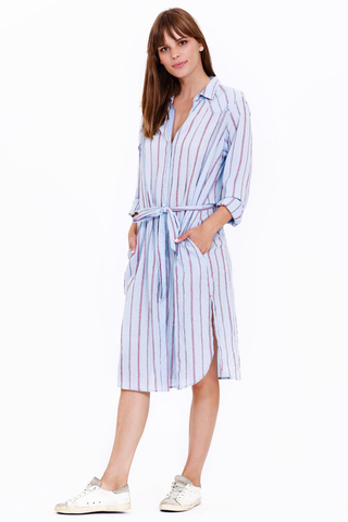 xirena keats dress in blue beckett stripes