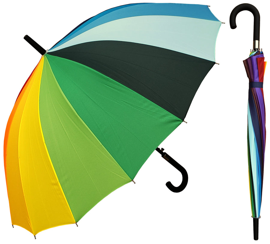 Wholesale 16 Panel Rainbow Hook Handle Umbrella