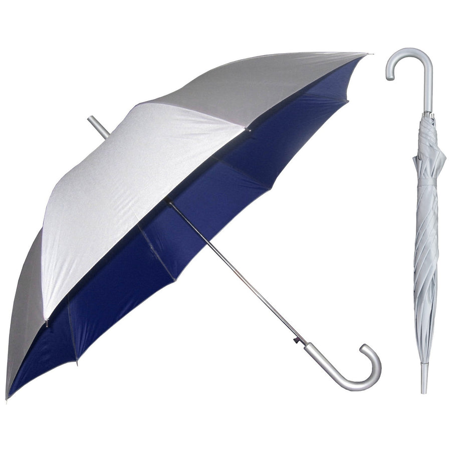 Wholesale Silver European Hook Umbrella With Colored Lining