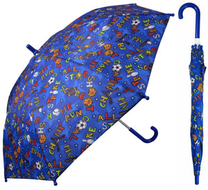 Wholesale Blue Sport Print Kids Umbrella