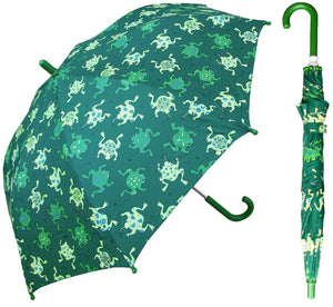 Wholesale Green Frog Print Kids Umbrella