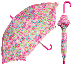 Wholesale Owl Print With Ruffles Children's Umbrella