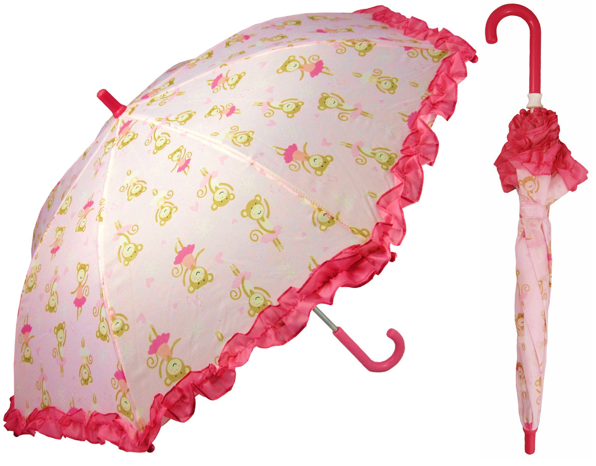 Wholesale Children's Umbrella - Pink Monkey print