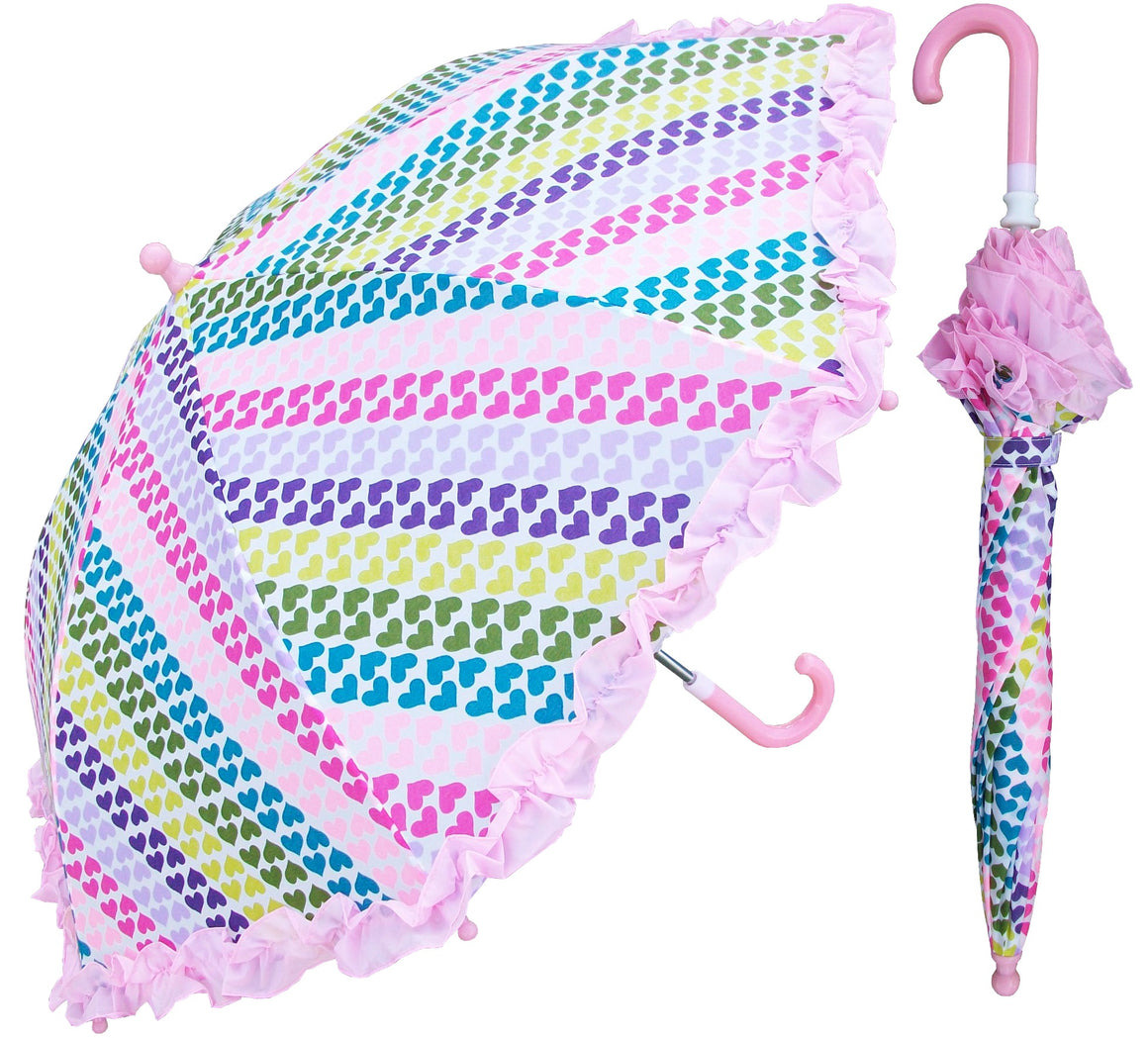 Wholesale Children's Heart Stripe Print Umbrella
