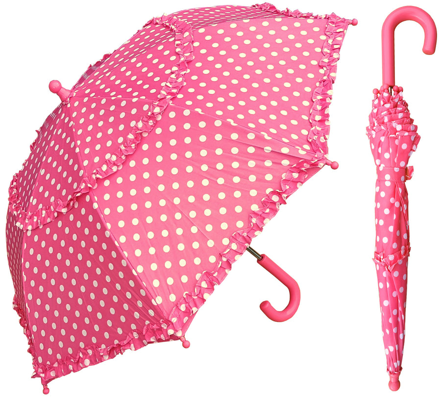 Wholesale Kids Polka-Dots 2-Ruffles Umbrellas