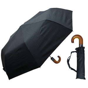 Wholesale Auto-Open Black Hook Handle Umbrella