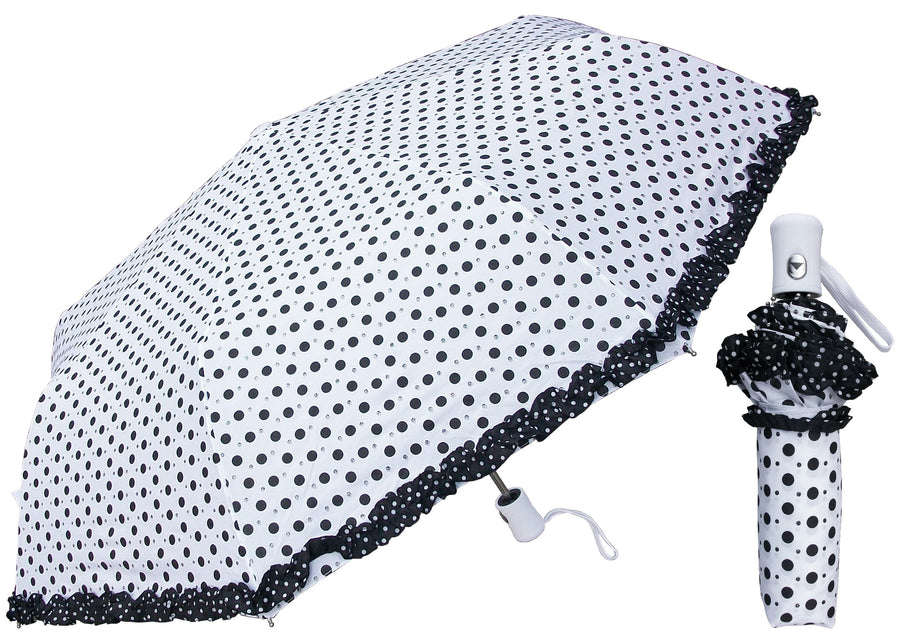 Wholesale Auto Cute Polka Dot Ruffles Classic Umbrella