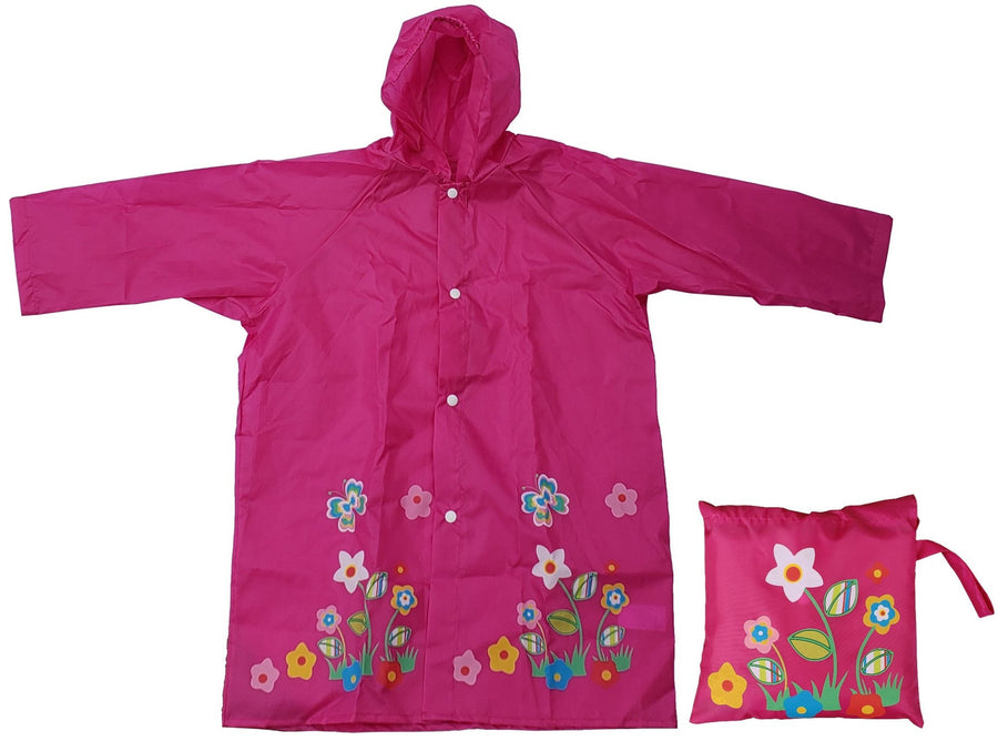 Wholesale Pink Flower Butterfly Raincoat