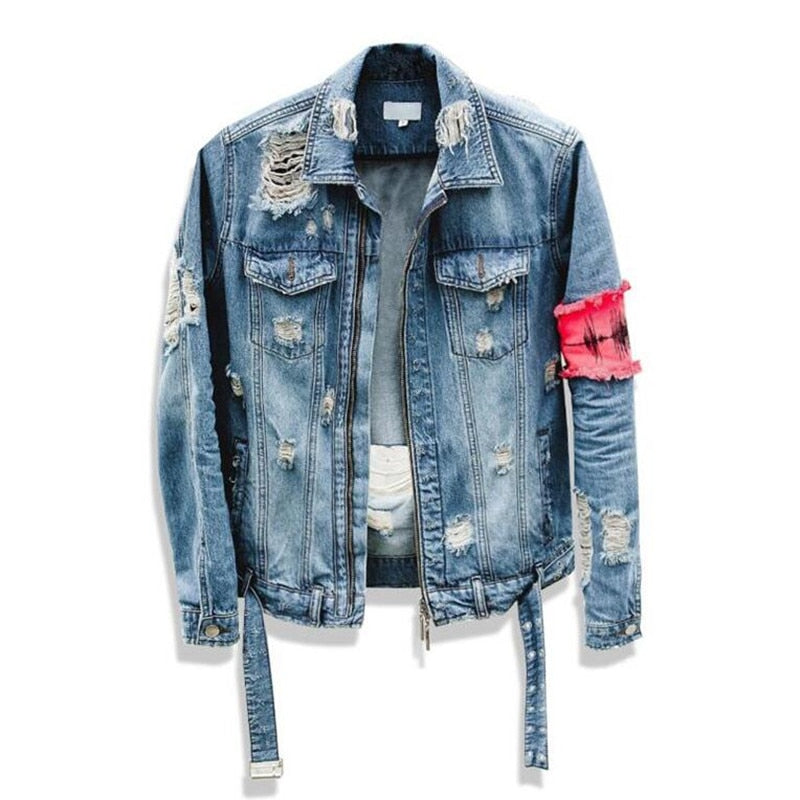 Denim damage jacket red patch