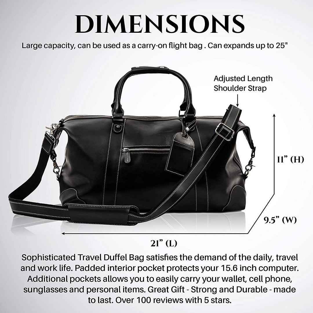 3e3de99bfe4a Viosi Vintage Expandable Duffel Bag Leather Weekender Luggage Travel Bag