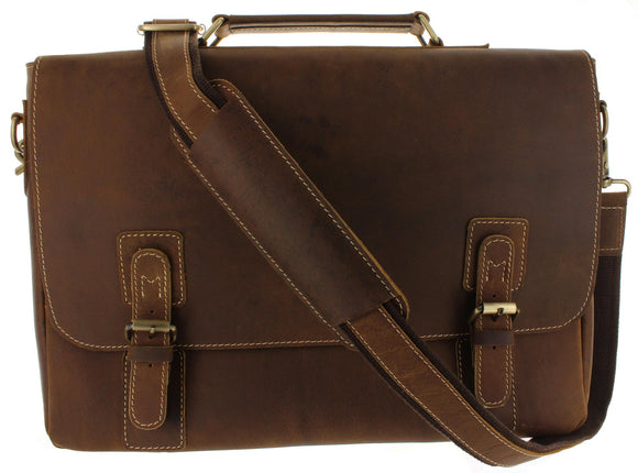 RFID Leather Messenger Shoulder Satchel Bag for Men