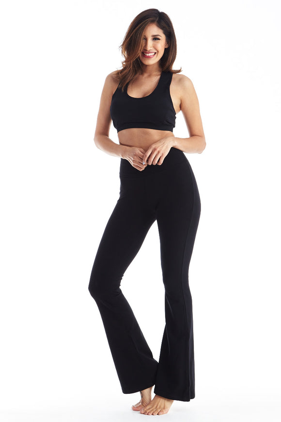 Womens Yoga Pants Premium Thick Fold Over Cotton Spandex Lounge