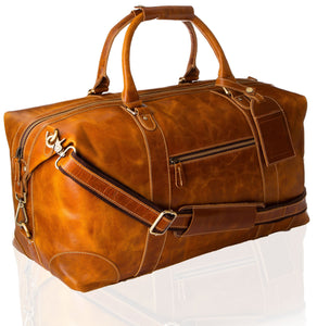 Viosi Vintage Expandable Duffel Bag Leather Weekender Luggage Travel Bag