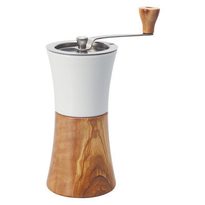 Hario Ceramic Hand Grinder - Olive Wood  C4 Coffee Co.