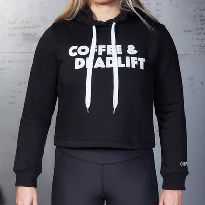 GYMHOLIX COFFEE AND DEADLIFT PRINTED WOMEN'S CROP HOODIE