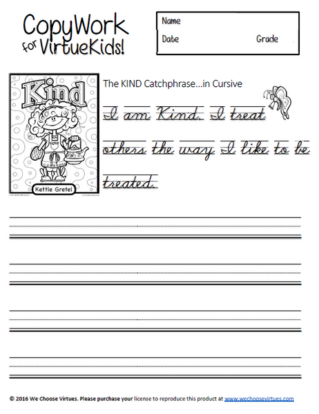 Kids Copywork in Cursive PDF with classroom license