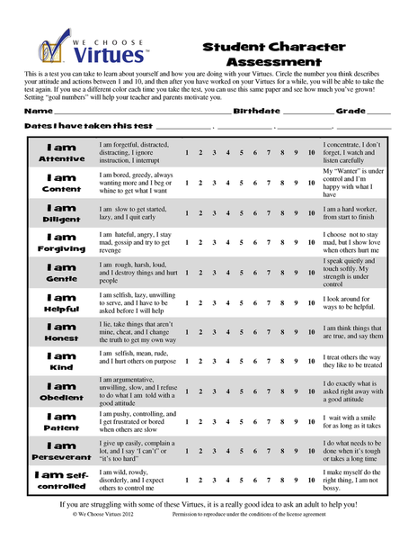 Kids Character Assessment PDF with classroom license