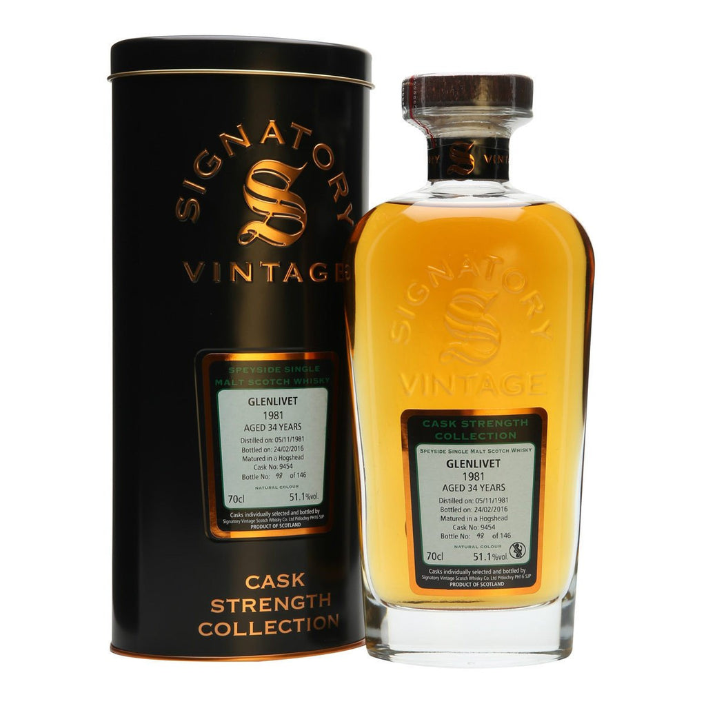 Glenlivet Sherry Hogshead 34 yrs Speyside Cask Strength Signatory Single Malt Scotch Whisky | De Wine Spot - Curated Whiskey, Small-Batch Wines and Sakes