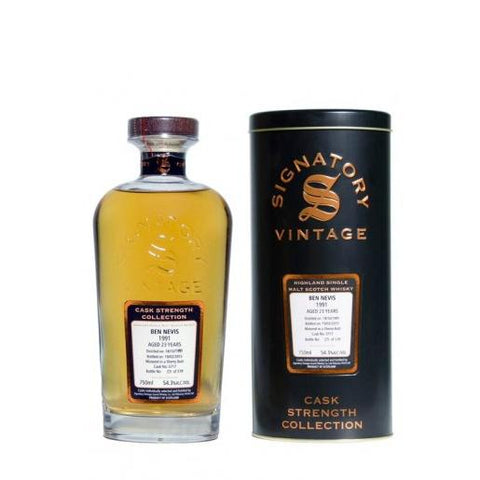 Ben Nevis 23 yrs Sherry Butt Cask Strength Signatory Single Malt Scotch Whisky - De Wine Spot | Curated Whiskey, Small-Batch Wines and Sakes