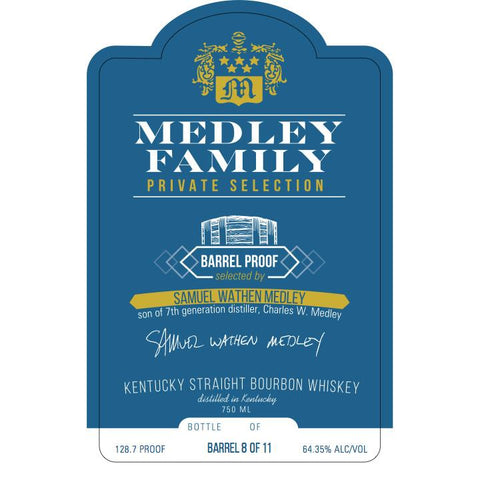 Medley Family Private Selection (Samuel Wathen Medley) Kentucky Straight Bourbon Whiskey | De Wine Spot - Curated Whiskey, Small-Batch Wines and Sakes