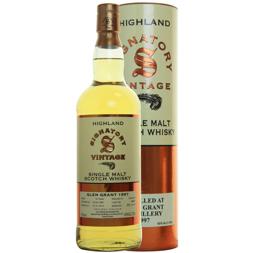 Glen Grant Sherry Butt 16 yrs Highland 86 Proof Signatory Single Malt Scotch Whisky | De Wine Spot - Curated Whiskey, Small-Batch Wines and Sakes