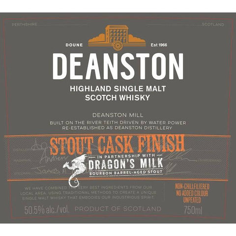 Deanston Dragon's Milk Stout Cask Finish Highland Single Malt Scotch Whisky - De Wine Spot | Curated Whiskey, Small-Batch Wines and Sakes