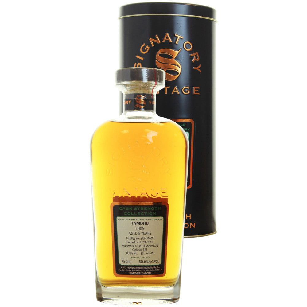 Tamdhu Sherry Butt 8 yrs Speyside Cask Strength Signatory Single Malt Scotch Whisky - De Wine Spot | Curated Whiskey, Small-Batch Wines and Sakes