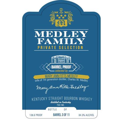 Medley Family Private Selection (Mary Ann Fitts Medley) Kentucky Straight Bourbon Whiskey | De Wine Spot - Curated Whiskey, Small-Batch Wines and Sakes