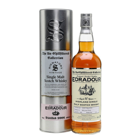 Edradour 10 yrs Highland Unchillfiltered Signatory Single Malt Scotch Whisky | De Wine Spot - Curated Whiskey, Small-Batch Wines and Sakes