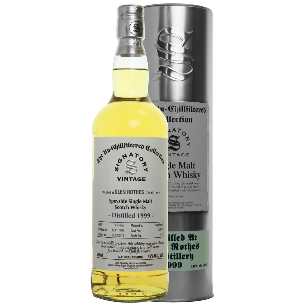 Glen Rothes Bourbon 15 yrs Speyside Unchillfiltered Signatory Single Malt Scotch Whisky - De Wine Spot | Curated Whiskey, Small-Batch Wines and Sakes