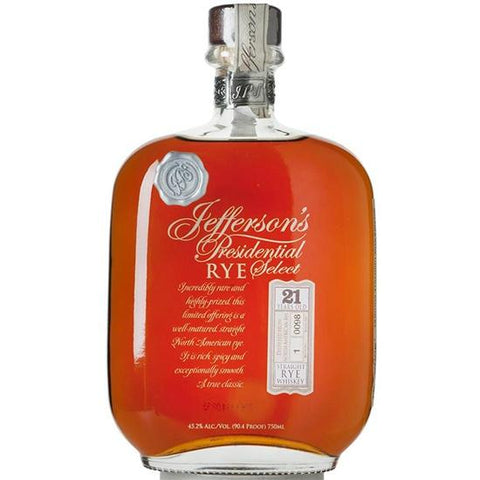 Jefferson's Presidential Select 21 Year Old Rye | De Wine Spot - Curated Whiskey, Small-Batch Wines and Sakes