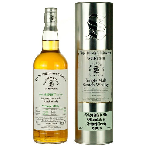 Glenlivet 10 yrs Speyside Unchillfiltered Signatory Single Malt Scotch Whisky - De Wine Spot | Curated Whiskey, Small-Batch Wines and Sakes