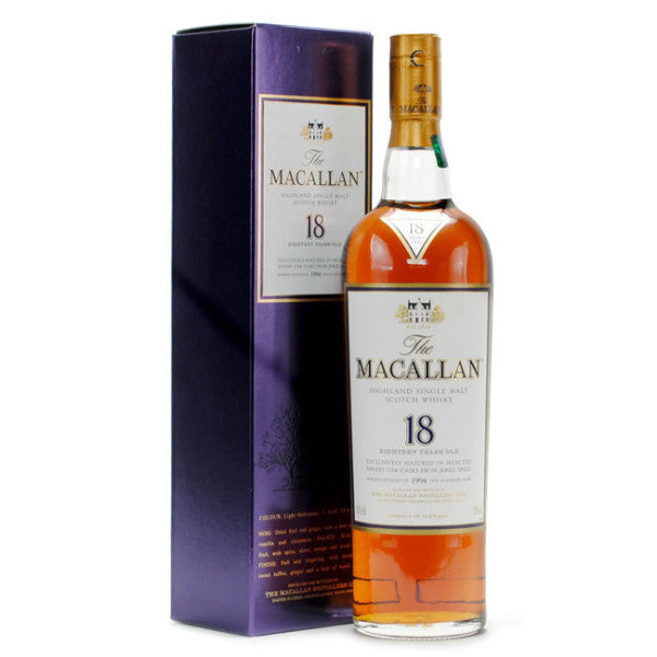 Macallan 18 Years Old Sherry Oak Highland Single Malt Scotch Whisky | De Wine Spot - Curated Whiskey, Small-Batch Wines and Sakes
