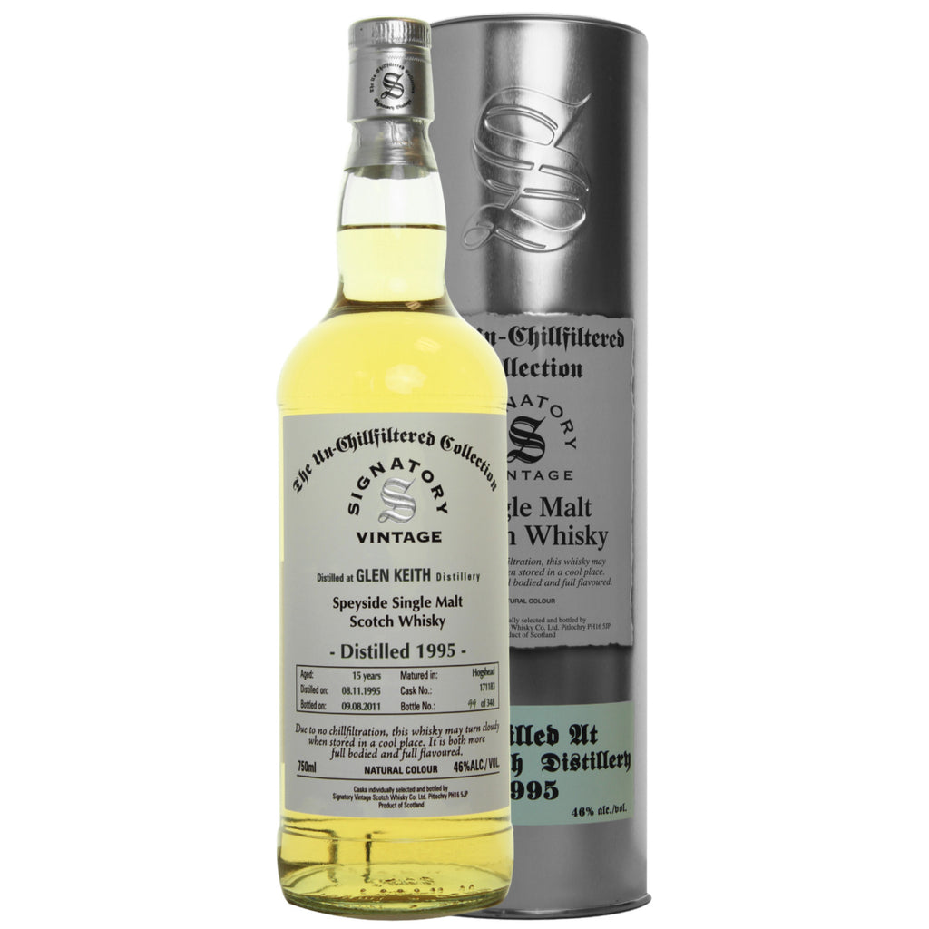 Glen Keith Hogshead 15 yrs Speyside Unchillfiltered Signatory Single Malt Scotch Whisky - De Wine Spot | Curated Whiskey, Small-Batch Wines and Sakes