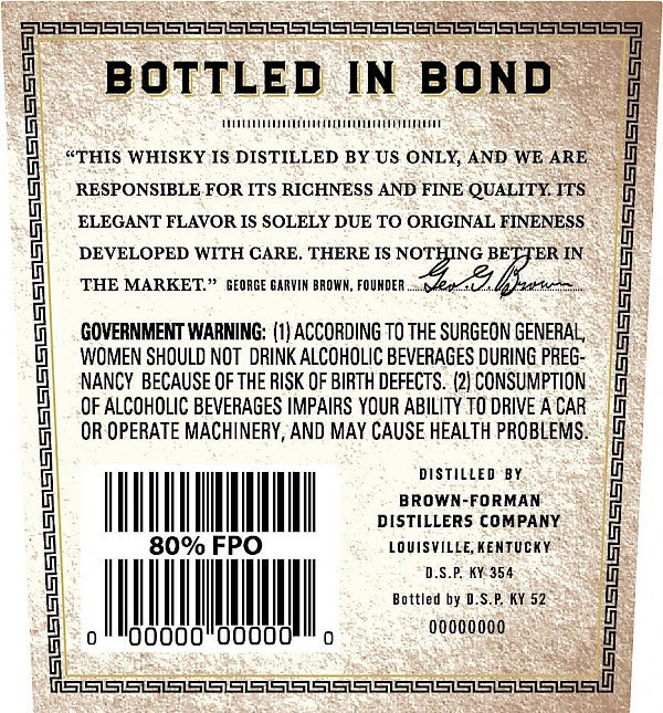 Old Forester 1897 Bottled in Bond Bourbon - De Wine Spot | Curated Whiskey, Small-Batch Wines and Sakes