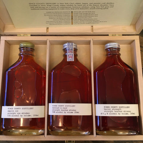 Kings County Distillery Whiskey Gift Set  (Empire Rye/Bottled in Bond Bourbon/Barrel Strength Bourbon)