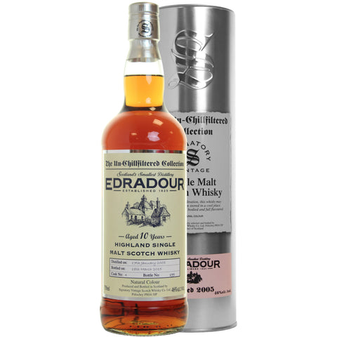 Edradour 12 yrs Highland Unchillfiltered Signatory Single Malt Scotch Whisky | De Wine Spot - Curated Whiskey, Small-Batch Wines and Sakes