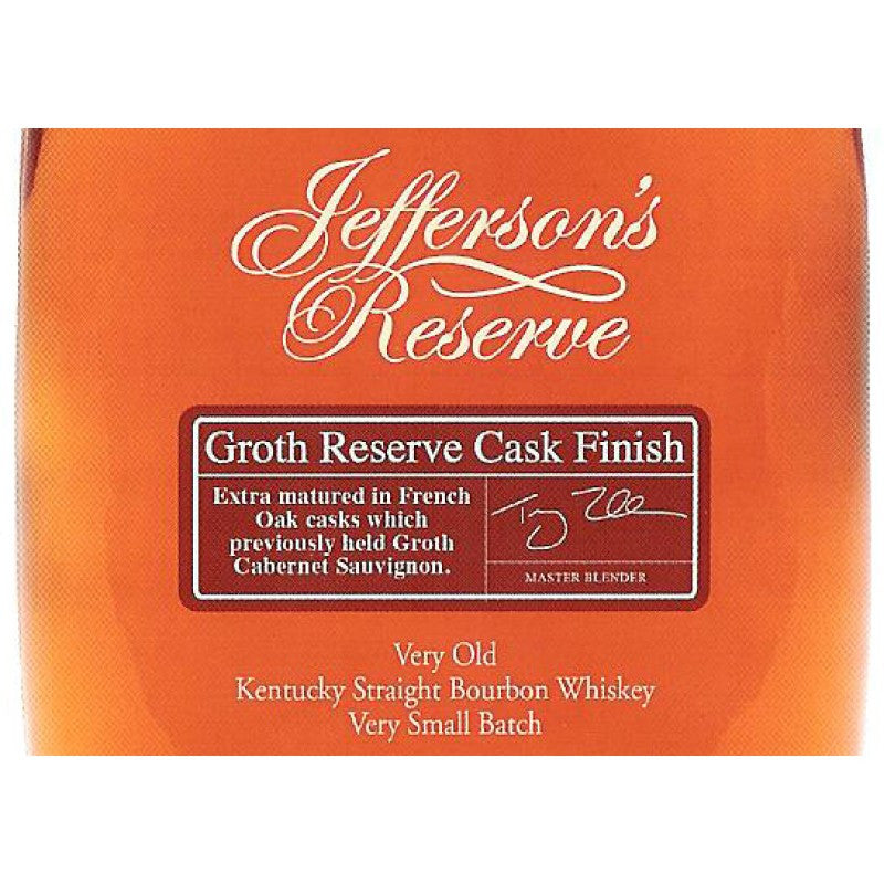 Jefferson's Groth Reserve Cask Finish Very Old Kentucky Straight Bourbon Whiskey - De Wine Spot | Curated Whiskey, Small-Batch Wines and Sakes