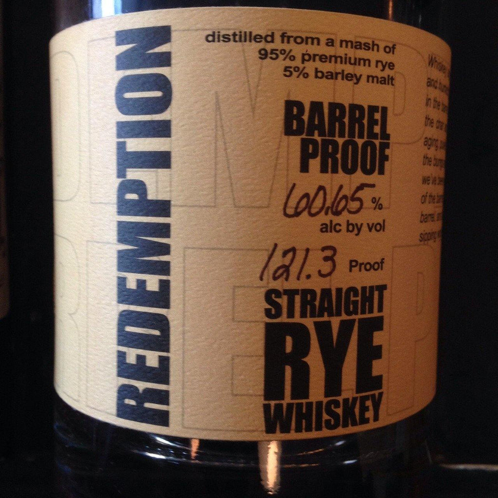 Redemption Straight Rye Whiskey Barrel Proof - De Wine Spot | Curated Whiskey, Small-Batch Wines and Sakes