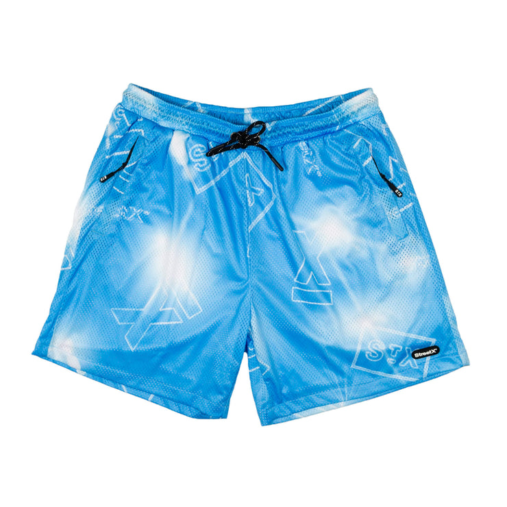 metal logo mesh shorts
