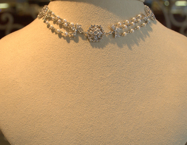 Estate Pearl And Diamond Choker