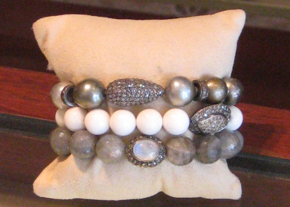 Semi Precious And Diamond Assorted Bracelets
