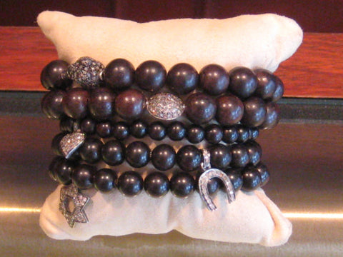 Wood And Diamond Fashion Bracelets