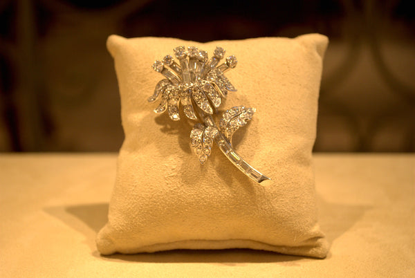 Platinum and Diamond Flower Pin